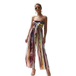 DELIYA - 条纹露肩连衣裤