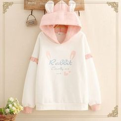 Kawaii Fairyland - Ear-Accent Hood Rabbit Print Fleece-Lined Hoodie