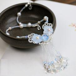 Kanzashi(カンザシ) - Retro Faux Pearl Flower Headpiece