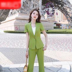 Skyheart - 短袖西装外套 / 西裤 / 荷叶襬铅笔裙 / 套装