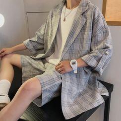 Tiaota - Set : Short-Sleeve Plaid Blazer + Elastic-Waist Plaid Shorts
