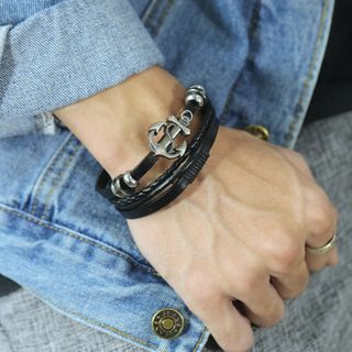 Tenri - Anchor Stainless Steel Leather Layered Bracelet
