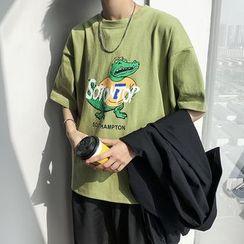 MOWAK - 鳄鱼卡通印花短袖T恤