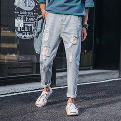 Obikan - 破洞九分哈伦牛仔裤
