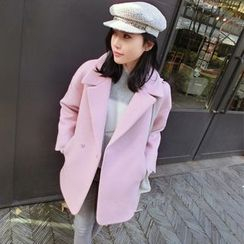 mokuchobi - Snap-Button Wool Coat