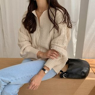 MERONGSHOP - Open-Placket Cable-Knit Sweater