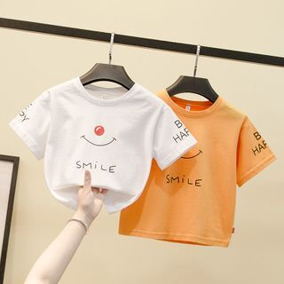 Ouron - Kids Smiley Face Print Lettering Short-Sleeve T-Shirt