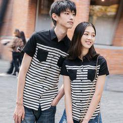 Igsoo - Couple Matching Set: Short-Sleeve Striped Shirt