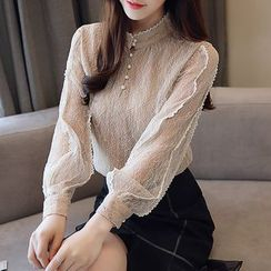 Daybreak - Stand Collar Long-Sleeve Lace Blouse