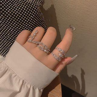 Ticoo - Rhinestone Layered Ring / Set