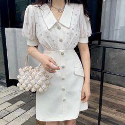 Alberlino - Puff-Sleeve Wide-Collar Embellished Mini Shift Dress
