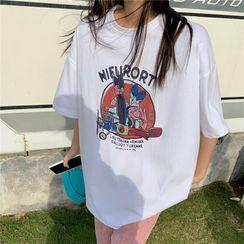Mushini - Elbow-Sleeve Print T-Shirt
