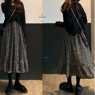 monroll - V-Neck Cable-Knit Sweater / Floral Long-Sleeve Midi A-Line Dress