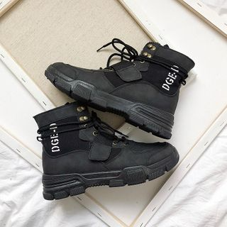 Algodon - Lettering Lace Up Short Boots