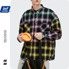 Newin - Gradient Loose-Fit Plaid Shirt
