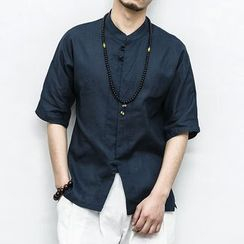 YAME - Short-Sleeve Plain Shirt