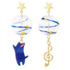 Cv Plus Design - Non-matching Alloy Cat & Music Note Dangle Earring