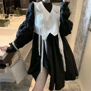 NENE - Long-Sleeve Shift Dress / Flower Detail Cropped Vest
