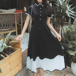 Meatacci - Short-Sleeve Contrast Trim Color Block A-Line Midi Dress