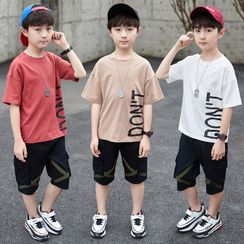 PAM - Kids Set: Short-Sleeve Letter Print T-Shirt + Cargo Shorts
