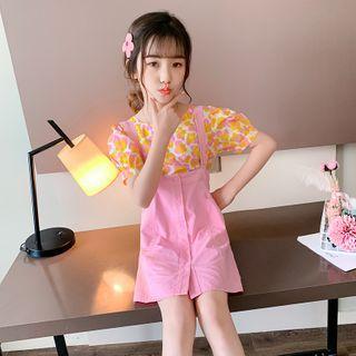 Qin Qin - Kids Set: Short-Sleeve Floral Print Blouse + Mini A-Line Suspender Skirt