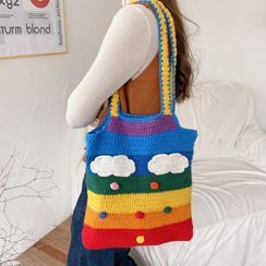 Leftsac - Rainbow Knit Tote Bag / Crossbody Bag