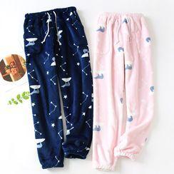 MelMount - Couple-Matching Fleece Printed Pajama Pants