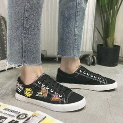 Solejoy - Applique Lace-Up Sneakers