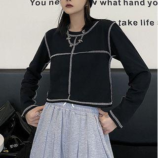 LINSI - Long-Sleeve Contrast Stitching T-Shirt