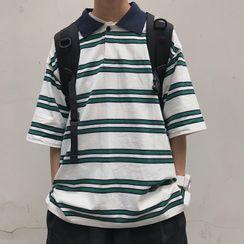 Banash - 中袖條紋馬球襯衫