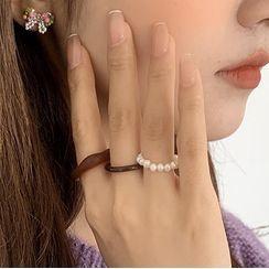 Rouwan - Set of 3: Freshwater Pearl / Resin Ring