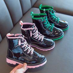 Doradas - 小童配色邊繫帶漆皮短靴