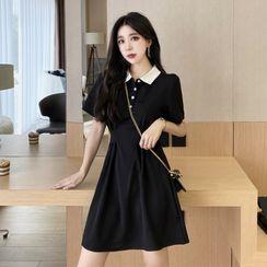 MAVIS - Short-Sleeve Mini A-Line Polo Dress
