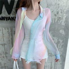 Rerise - Long-Sleeve Iridescent Sheer Button-Up Shirt