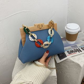 FAYLE - Wooden Clasp Chain Crossbody Bag