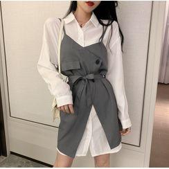 Kizmi - Plain Long Shirt / Mini Pinafore Dress