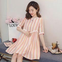 Empressa - 孕妇短袖迷你条纹连衣裙