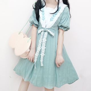 Tomoyo - Short-Sleeve Bow Accent A-Line Dress