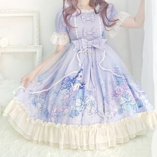 Tomoyo - Short-Sleeve Lace-Trim A-Line Dress