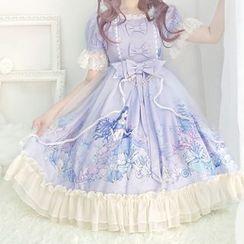 Tomoyo - Short-Sleeve Lace-Trim A-Line Dress