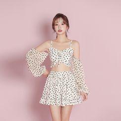 Ostinno - 套裝: 長袖鏤空肩心心印花坦基尼泳衣上衣 + 泳裙