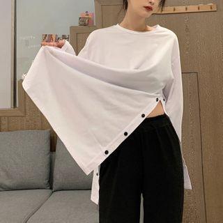 Thinmia(シンミア) - Crewneck Side Slit T-Shirt