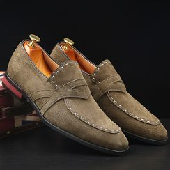 Pikkolo - Lace-Up Plain Faux Suede Loafers