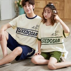 Lion Sniff - Couple Matching Loungewear Set : Short-Sleeve Lettering Top + Shorts