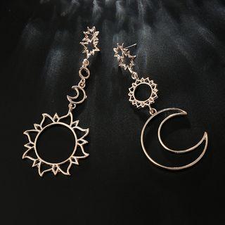 Yongge - Non-Matching Alloy Sun & Moon Dangle Earrings