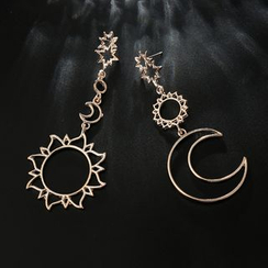 Yongge - Non-Matching Alloy Sun & Moon Dangle Earrings