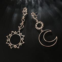 Yongge - 不對稱合金月亮及星星耳墜