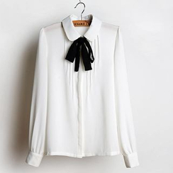 JVL - Tie-Neck Pleated Blouse
