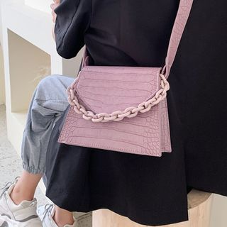 Kunado - Faux Leather Chained Handbag