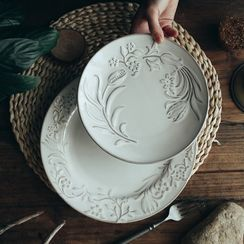 ZACK STORY - Embossed Flower Ceramic Plate